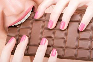 Wallpaper Chocolate Fingers Chocolate bar Teeth Manicure Food