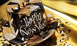 Photo New year Closeup Hat English