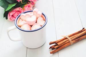 Bilder Zimt Valentinstag Herz Becher Marshmallow Lebensmittel