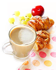Photo Coffee Cappuccino Croissant White background Cup Food