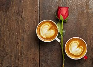 Wallpaper Coffee Cappuccino Heart Cup Flowers