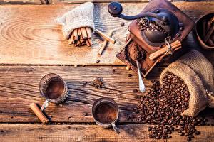 壁纸、、コーヒー、シナモン、スターアニス、木の板、ティーカップ、穀物、