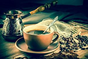Fotos Kaffee Tasse Getreide Untertasse Cezve Löffel Lebensmittel