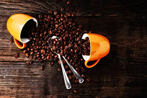 Photo Coffee Boards Two Cup Spoon Grain Food
