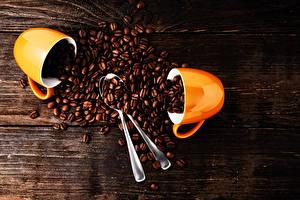 Papéis de parede Café Tábuas de madeira Dois Chávena Colher Cereal Alimentos
