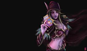 Pictures Elves Cards WoW Sylvanas Windrunner Hood headgear  Fantasy Girls