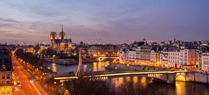 Images Evening Bridges Rivers Houses France Paris Cities