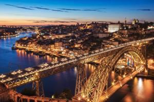 Hintergrundbilder Abend Brücken Flusse Gebäude Portugal Porto  Städte