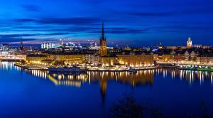 Bilder Abend Küste Stockholm Haus Schweden Riddarholmen Gamla stan Städte
