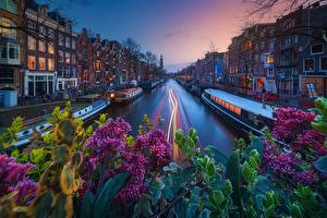Fotos Abend Gebäude Binnenschiff Amsterdam Niederlande Kanal Städte