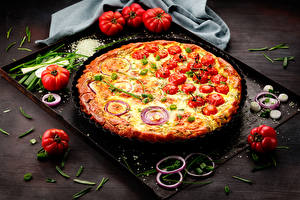 Photo Fast food Pizza Tomatoes Onion