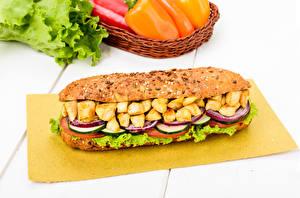 Fotos Fast food Sandwich Gemüse Fleischwaren