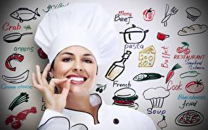 Fonds d'écran Doigts Chef cuisinier Sourire Chapeau Dents Filles