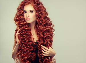 Pictures Fingers Curly Redhead girl Hair Glance Young woman