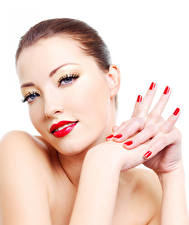 Pictures Fingers White background Brown haired Red lips Manicure Glance Girls