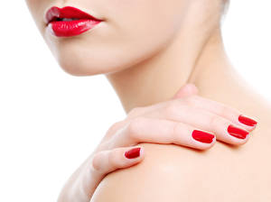 Pictures Fingers White background Red lips Manicure