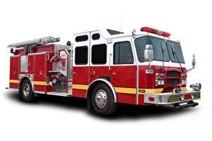 Fotos Feuerwehrfahrzeug Weißer hintergrund Autos