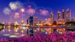 Wallpapers Fireworks Building Singapore Night time Bay Cities