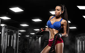 Pictures Fitness Brunette girl Physical exercise young woman Sport