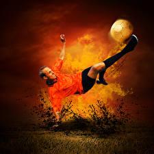 Hintergrundbilder Fußball Feuer Mann Fällt Ball Schlag sportliches
