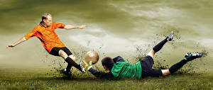 Image Footbal Goalkeeper (football) Men To beat Legs Falling Ball sports