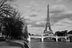 Bilder Frankreich Brücke Eiffelturm Paris Schwarzweiss