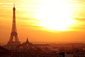 Fotos Frankreich Sonnenaufgänge und Sonnenuntergänge Abend Eiffelturm Paris Städte