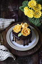 Photo Gerberas Cakes Roses Chocolate Yellow Design Food Flowers