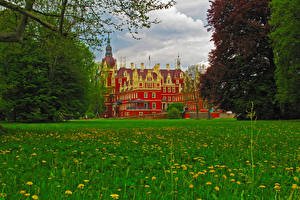 Picture Germany Castles Grass Muskau Castle Cities
