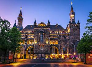 壁纸、、ドイツ、建物、夕、階段、街灯、Aachen Town Hall、