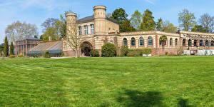 Fondos de Pantalla Alemania Parque Edificio Césped Botanischer Garten Karlsruhe Ciudades