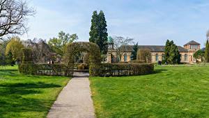 Pictures Germany Parks Houses Design Bush Lawn Botanischer Garten Karlsruhe Nature