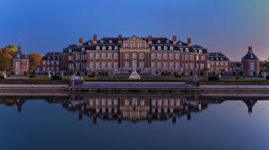Wallpapers Germany Pond Evening Sculptures Palace Stairway Palace of Nordkirchen Cities