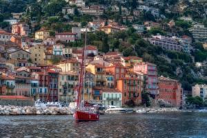 壁纸、、住宅、海岸、ヨット、フランス、ハイダイナミックレンジ合成、French Riviera Villefranche-sur-Mer、都市