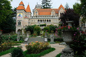 Image Hungary Castles Parks Sculptures Stairway Bory Castle Cities