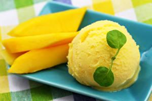 Pictures Ice cream Sweets Mango Balls Yellow