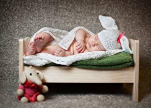 Wallpaper Newborn Sleep Winter hat Bed child