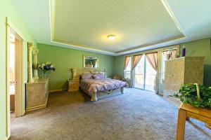 壁纸、、インテリア、デザイン、寝室、ベッド、
