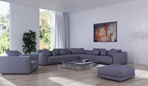 Wallpaper Interior Design Living room Couch Armchair 3D Graphics