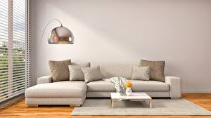 Pictures Interior Couch Pillows 3D Graphics