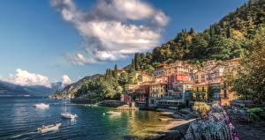 Hintergrundbilder Italien Küste Haus See Bootssteg Motorboot Varenna Como Lake Städte