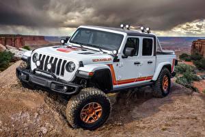 Bilder Jeep Sport Utility Vehicle Pick-up Weiß 2019 JT Scrambler Autos
