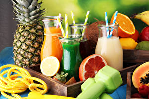 Pictures Juice Fruit Pineapples Bottle Food