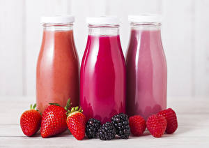Images Juice Strawberry Raspberry Blackberry Three 3 Bottles Food