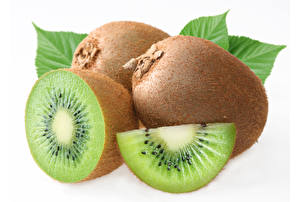Wallpaper Kiwi Closeup White background Piece Food