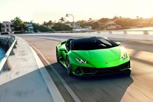 Fotos Lamborghini Vorne Geschwindigkeit Grün Spyder Evo Huracan automobil
