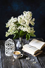 Wallpapers Lilac Still-life Coffee Cappuccino Wood planks Vase Book Cup Flowers Food
