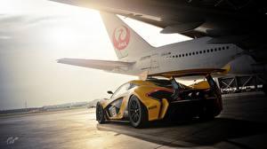 壁纸、、マクラーレン、グランツーリスモシリーズ、の背面図、GTR P1 Gran Turismo Sport、、自動車