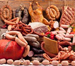 Fotos Fleischwaren Wurst Wiener Würstchen Schinken Hühnerbraten Viel Lebensmittel