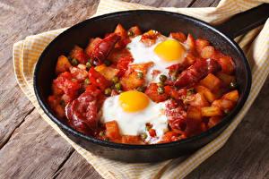 Hintergrundbilder Fleischwaren Gemüse Kartoffel Pfanne Spiegelei Lebensmittel